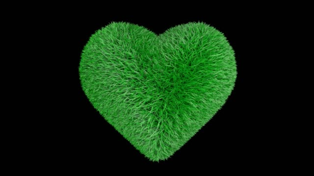 Heart of fresh green grass beating. 3D animation