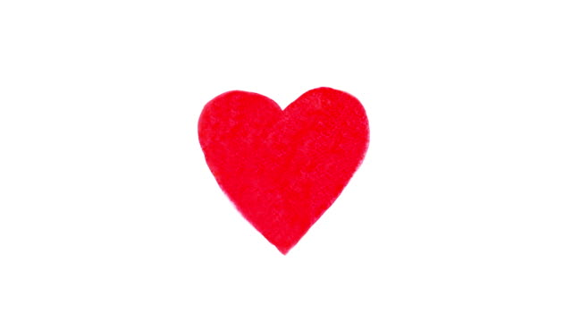 vídeos de stock e filmes b-roll de heart painted in red watercolor which pulsates for valentines day, stop motion animation. loopable elements - imagem pulsante