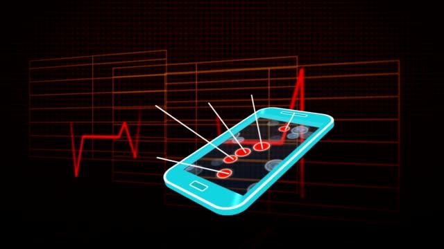 vídeos de stock e filmes b-roll de heart rate and mobile phone with application icons - coração fraco