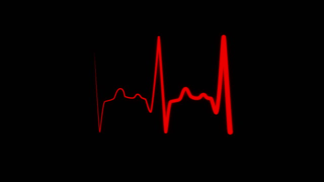Heart rate electrocardiogram medical monitor Heartbeat flatline electrocardiogram medical sceen, seamlessly looped heartbeat in a stressful situation, heart rate in quiescent state. Red heartbeat line on black background pulse trace stock videos & royalty-free footage