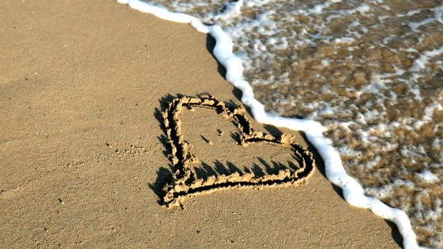 Heart shape in sand video