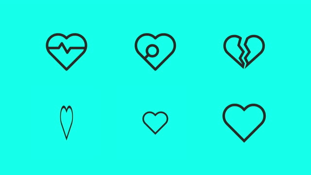 heart shape line icons - vector animate - clip art video stock e b–roll