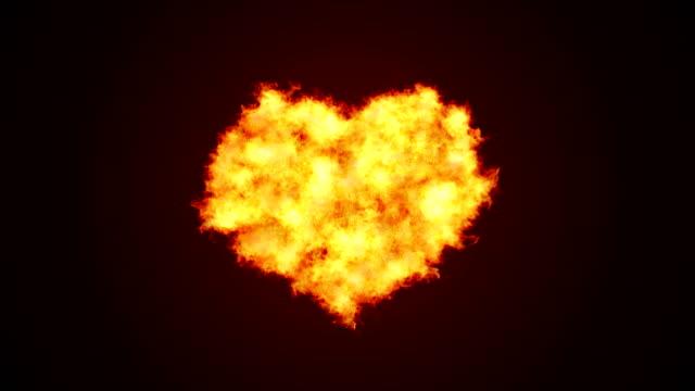 Heart Shape Love Fire Background (alpha channel) - 4K Resolution
