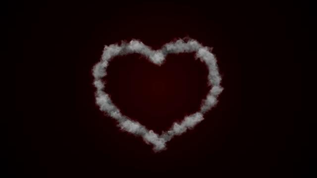 Heart Shape Love Smoke Background (alpha channel) - 4K Resolution