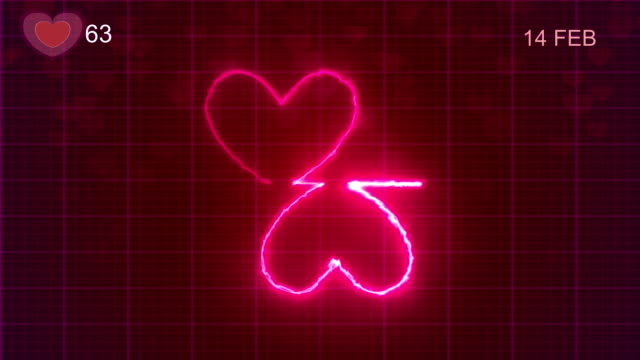 Heart Shape Pulse Trace, Loop Animation, Valentine's Day Heart Shape Pulse Trace, Loop Animation, Valentine's Day pulse trace stock videos & royalty-free footage