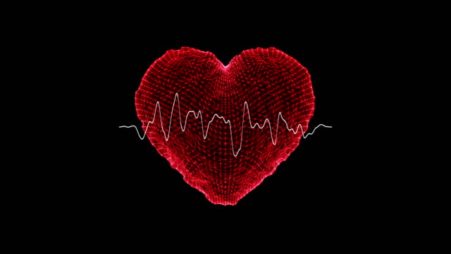 vídeos de stock e filmes b-roll de heart shape with ekg heart monitor /loopable - imagem pulsante