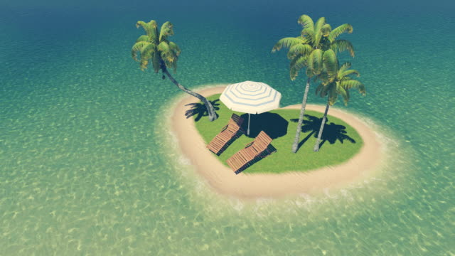 Heart shaped tropical island with deck chairs, parasol and palm trees. Aerial view video