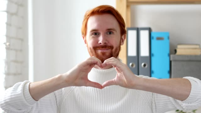 Heart Sign by Hands, Young Man with Red Hairs video