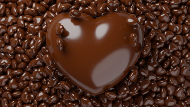 Heart sign symbol, big and mini chocolate candy flowing pop up 3D rendering brown color, Love valentine's Day concept design pattern background animation 4K footage with copy space video