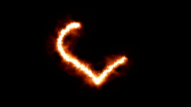 A Heart Symbol Lighting up and Burning in Flames video