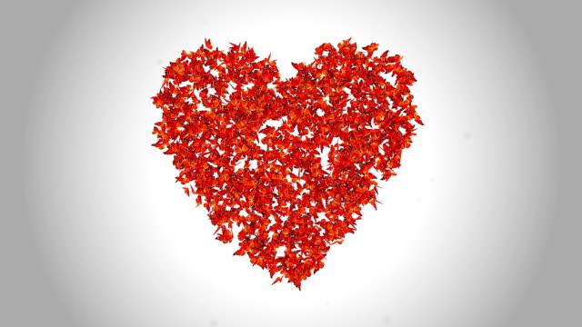 Heart Symbol made by Orange Butterflies - Alpha