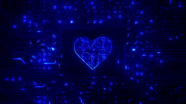 Heart with circuit board. Technology. Loopable. Blue. video