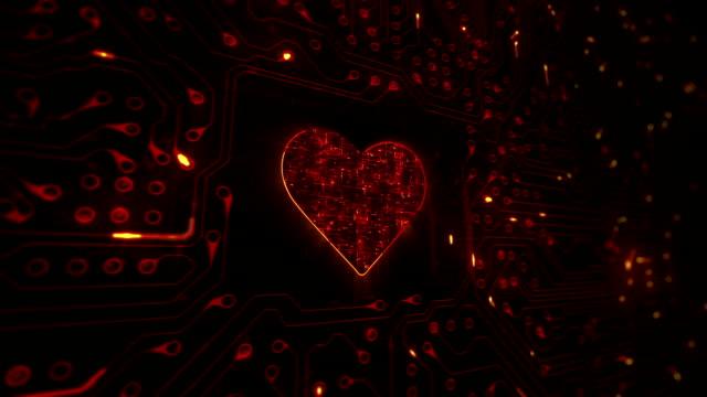 herz und schaltkreis. technologie. endlos wiederholbar. orange. - valentinstags karte stock-videos und b-roll-filmmaterial