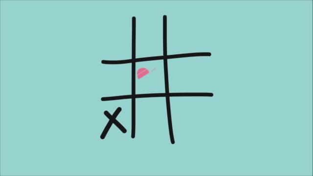 Heart xo tic-tac-toe game pastel tone