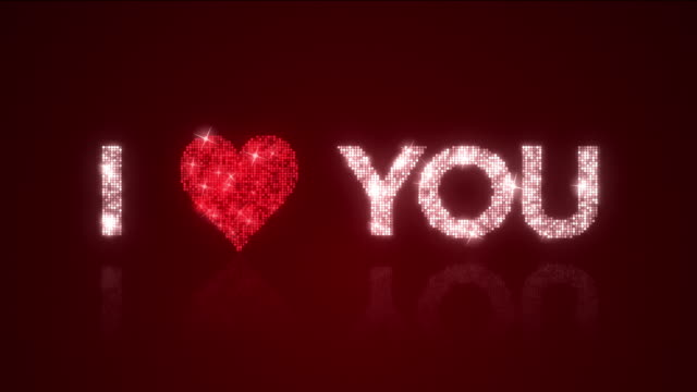 I Heart You Sparkling Background Loop with Matte video