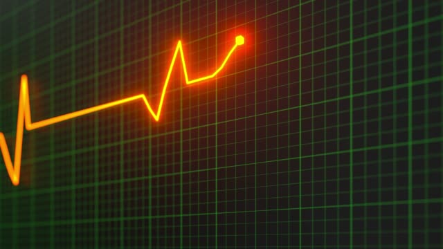 Heartbeat line reflecting on the monitor, 3d rendering.