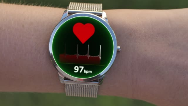 Heartbeat or Pulse Tracker on Smart Watch. Health Application and Green Screen