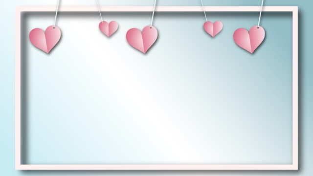 Hearts Background Animation - looping with paper shapes, cutting blank spaces Vector design video