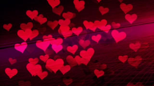 Hearts Flying in Digital environment, Internet Love, Internet Dating. video