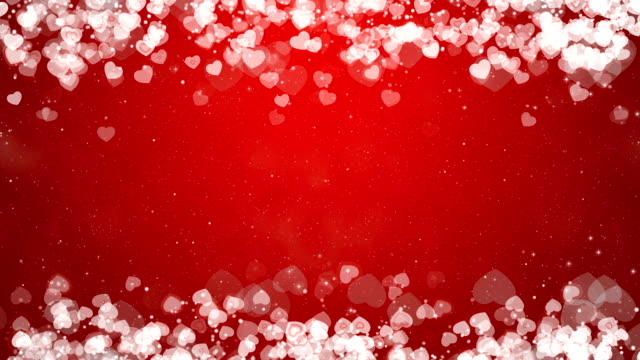 Hearts Frame on Red Background. Abstract Valentines Day Card. - Vidéo