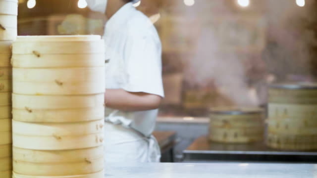 heat - temperature chinese food : dim sum cooking - pentola a vapore video stock e b–roll