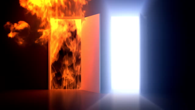Heaven and Hell Doorways Two doorways opening up to reveal two separate paths.  heaven stock videos & royalty-free footage