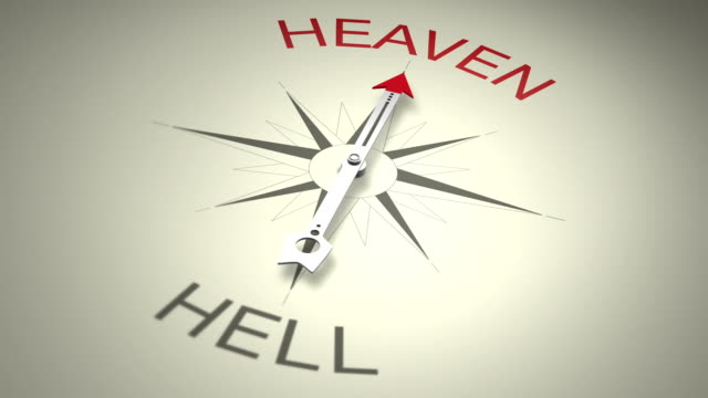 Heaven Versus Hell Spinning arrow trying to decide between heaven versus hell then choosing heaven word. Symbolizes human decisions. heaven stock videos & royalty-free footage