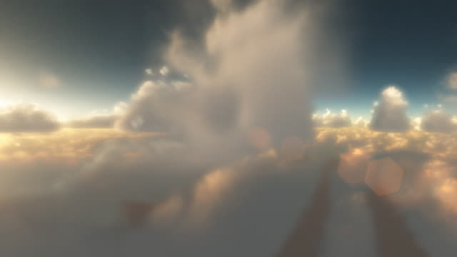 Heavenly flight through clouds loop