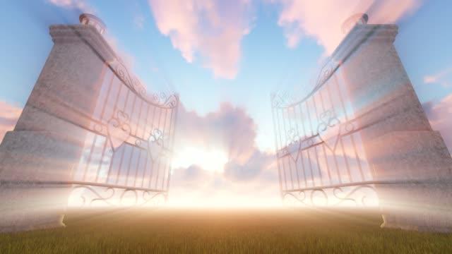 heaven's gate, animation - paradiso video stock e b–roll