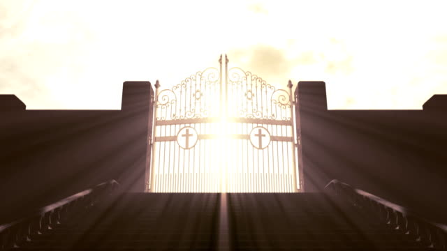 heavens gates new 2 A depiction of the pearly gates of heaven opening with light emanating from the bright side contrasting with the duller foreground and a stairway leading up to it heaven stock videos & royalty-free footage