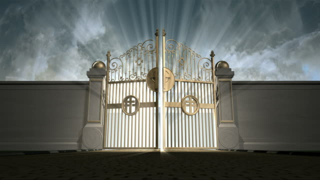 heavens gates opening static new Heavens golden gates opening to an ethereal light on a cloudy background gate stock videos & royalty-free footage