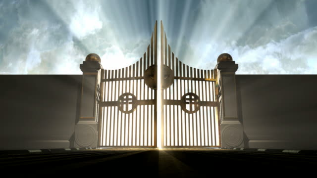 heavens gates opening A camera moving towards heavens golden gates opening to a blinding ethereal light on a cloudy background eternity stock videos & royalty-free footage