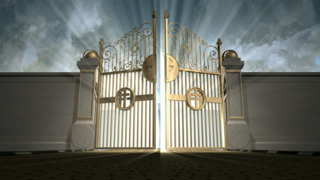 heavens gates walk towards new Heavens golden gates opening to an ethereal light on a cloudy background gate stock videos & royalty-free footage
