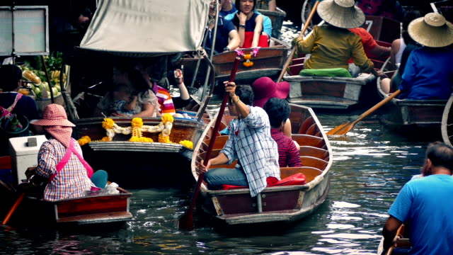 Heavy Boat Traffic In Thai Floating Market video