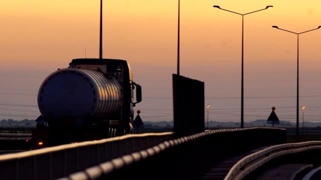 heavy cargo on the road - nave cisterna video stock e b–roll