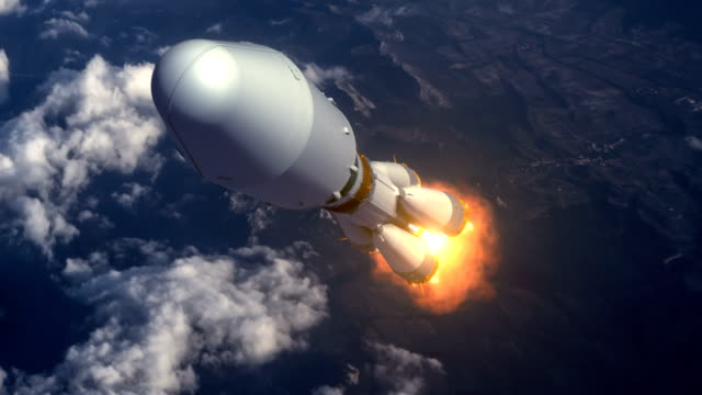 Heavy Carrier Rocket Takes Off Over The Clouds video