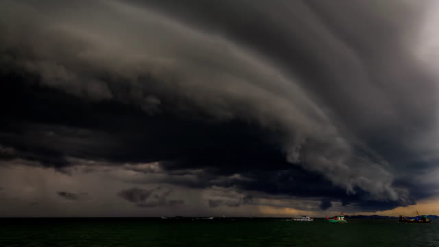 Heavy Gale Black Stormy Shelf Cloud Above The Sea TIMELAPSE video