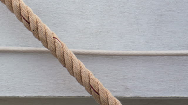 Heavy Industrial Rope Hanging on a Wall. video
