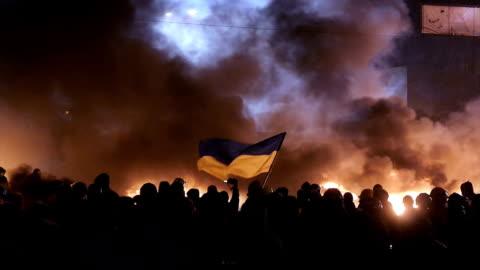 vidéos et rushes de des protestations à kiev, janvier 2014 - ukraine