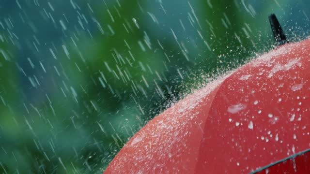 vídeos de stock e filmes b-roll de heavy rain falls on red umbrella - chapéu