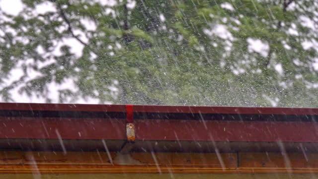 vídeos y material grabado en eventos de stock de lluvia pesada golpeando el techo de la casa y rain gutter 4k - pesado