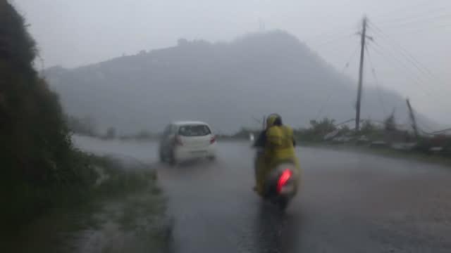 Heavy rain in mountains video