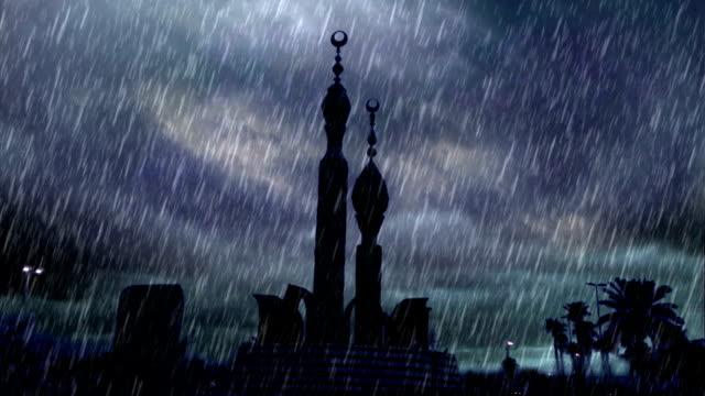 vídeos y material grabado en eventos de stock de heavy rain over estatua de pies en la antigua ciudad de jeddah en la mañana - 2015