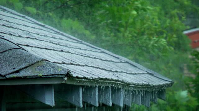 vídeos de stock e filmes b-roll de chuva pesadaweather forecast - telhado