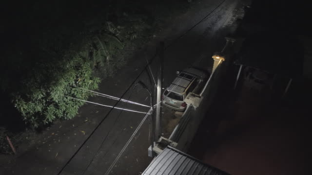 heavy rainfall by the street light during the night. heavy rainfall by the street light during the night. Stationary car  in the background stationary stock videos & royalty-free footage