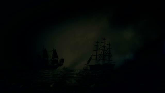 Heavy Sea Battle Between Fleets of Sailing Ships Under a Lightning Storm