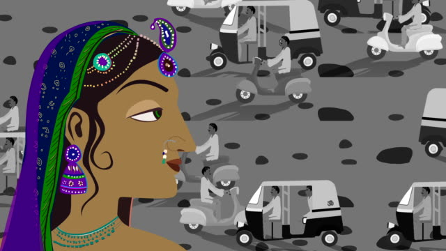 Heavy Traffic And Traditional Indian Hindu Woman In A Busy Street video