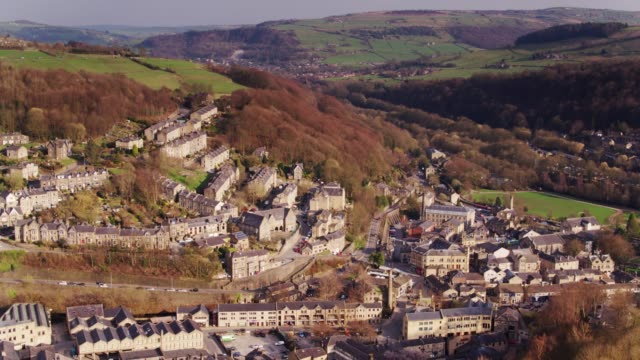 Hebden Bridge from Heptonstall - Drone Shot video