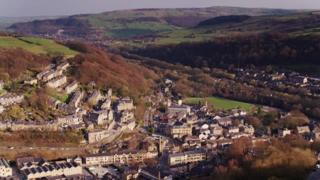 Hebden Bridge with Mytholmroyd in Distance - Drone Shot video