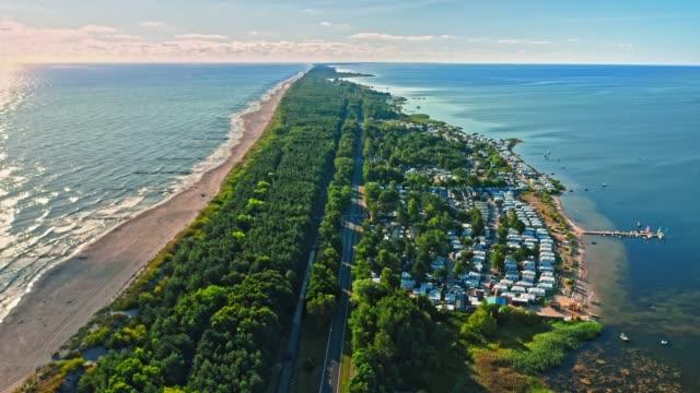 Hel peninsula with beach and railway, Baltic Sea, Poland